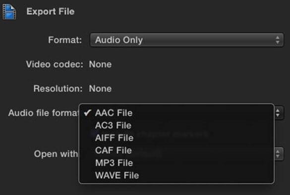 audio format setting