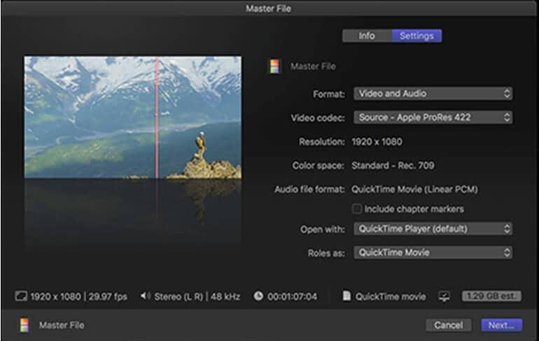 select output settings