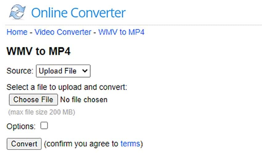 Online Converter for WMV to MP4