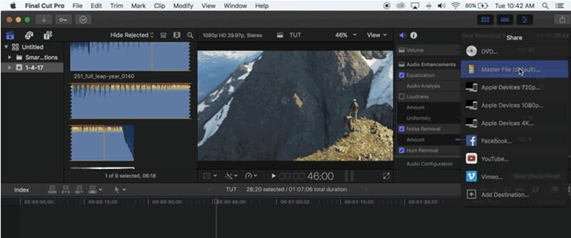 choose the file you want to export from fcp