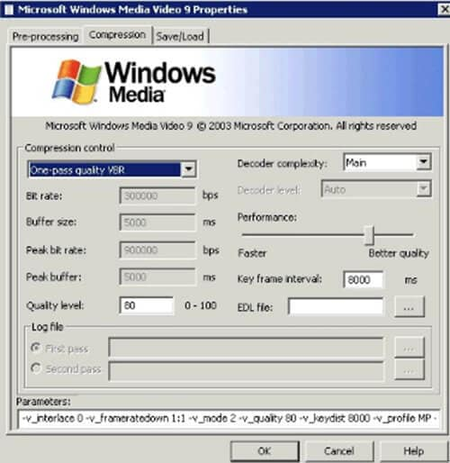 windows media video 9 vcm