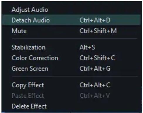 audio detach option