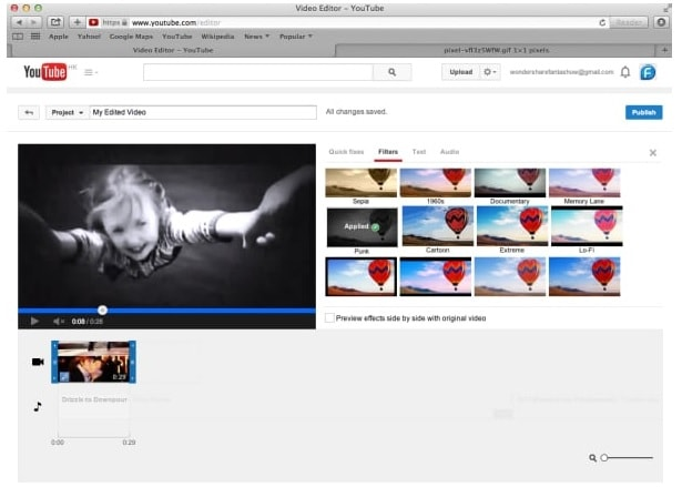 add filters to youtube video