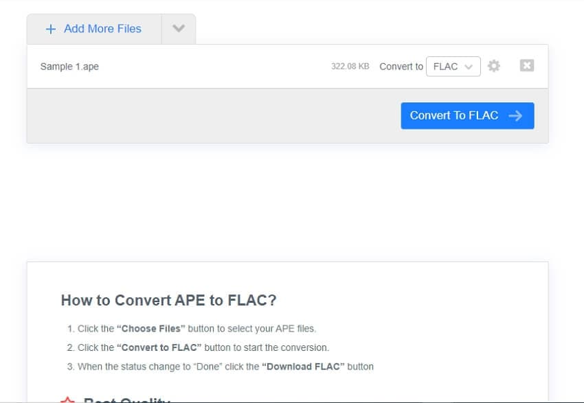 convert APE to FLAC online with FreeConvert