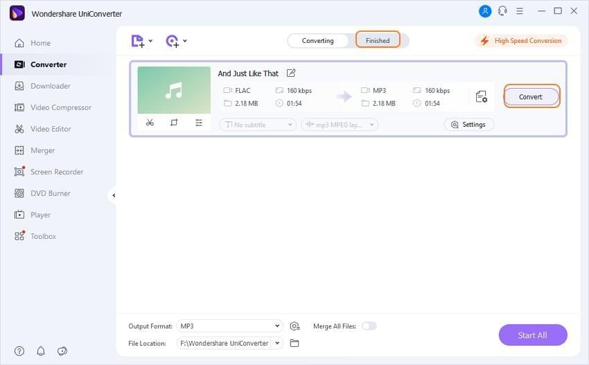 access the converted mp3 file