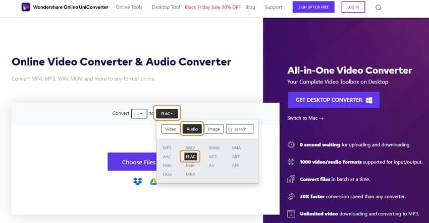 Convert FLAC online with Online uniConverter