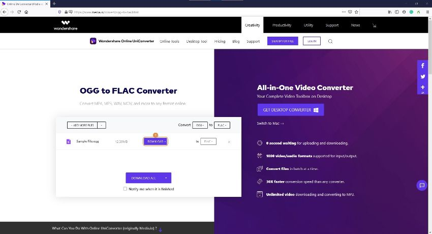 convert file to FLAC by Online UniConverter