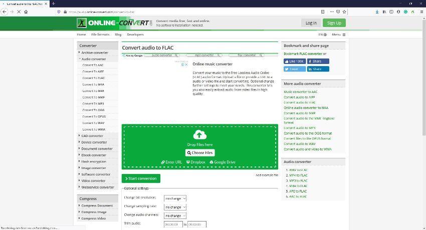 FLAC file online converters - Online-Convert