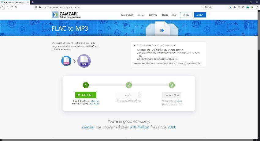 FLAC file online converters - Zamzar