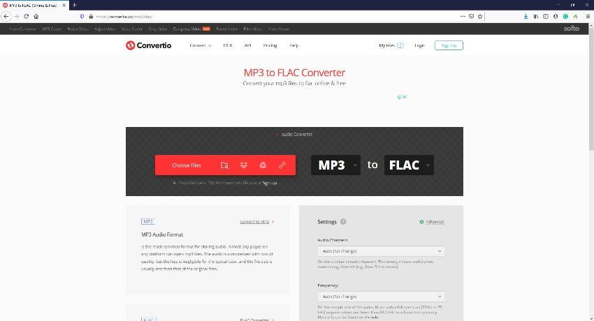 FLAC file online converters - Convertio
