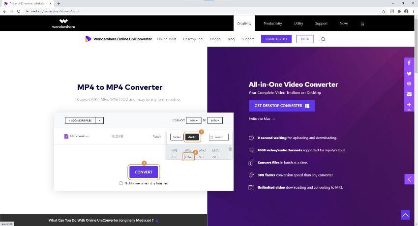 converter vídeo do youtube em flac