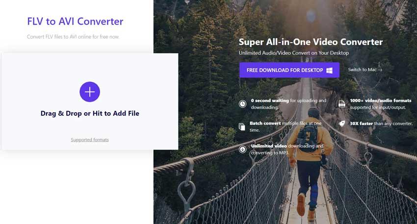 convert FLV to AVI by Online Uniconverter