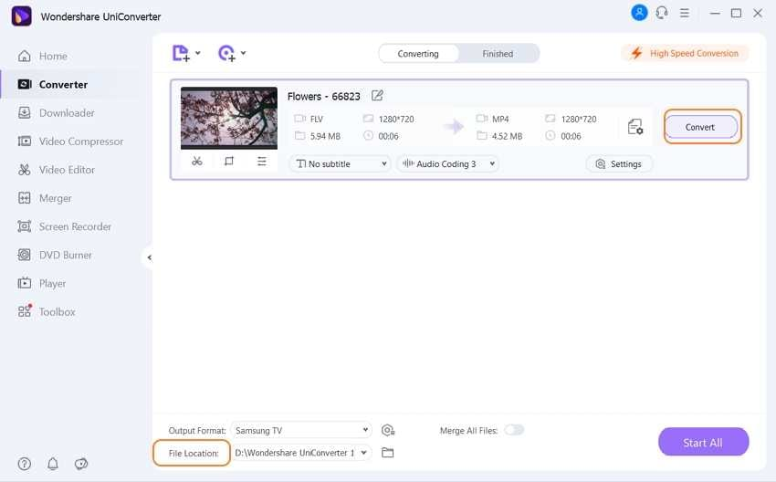 convert all FLV to TV by Uniconverter