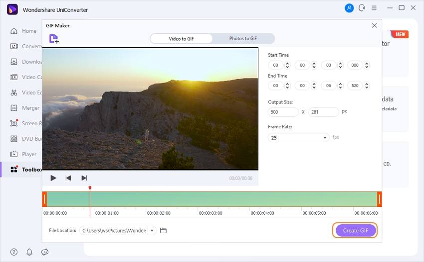 convert file to GIF by uniconverter