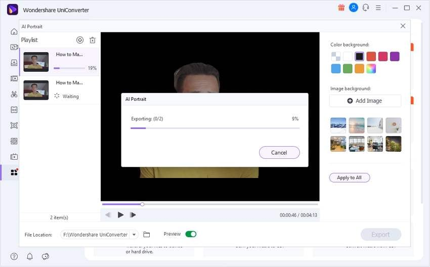 Remove video background successfully