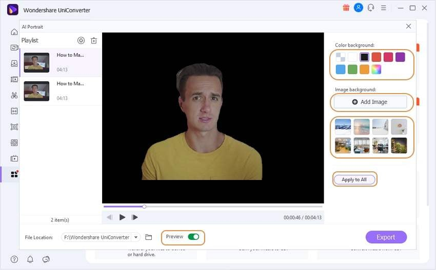 Import video to remove background
