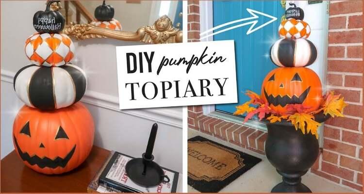 Halloween Pumpkin Carving Ideas - Stacked Pumpkin Statue