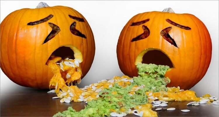 Ideen zum Schnitzen von Halloween-Kürbissen - Kotzender Kürbis