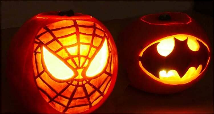 Ideen zum Schnitzen von Halloween-Kürbissen - Spiderman & Batman