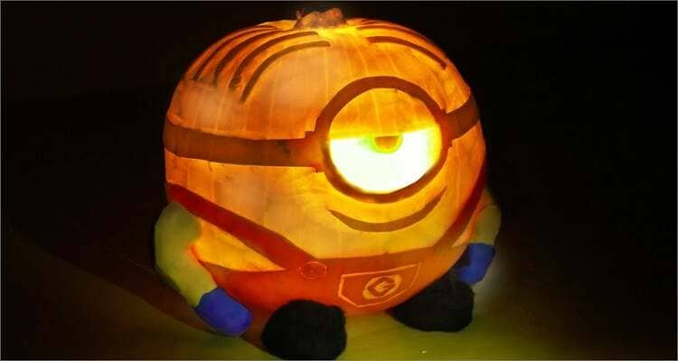 Ideen zum Schnitzen von Halloween-Kürbissen - Minion Kürbis