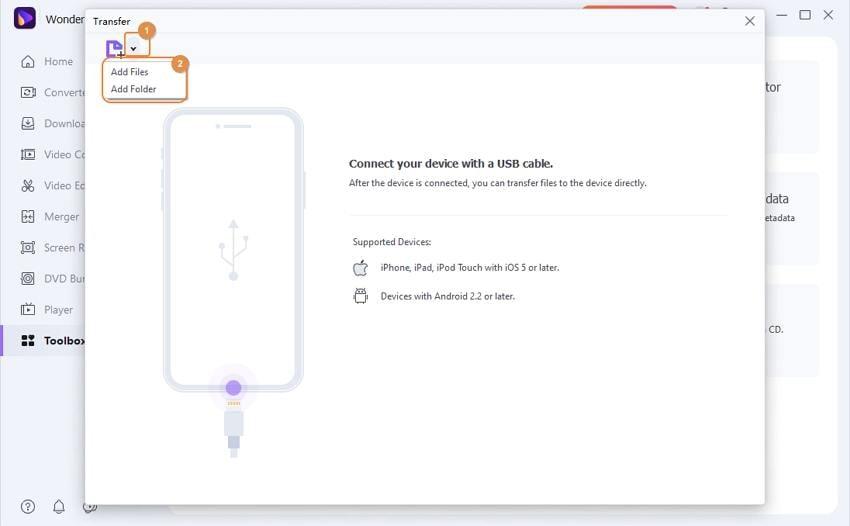 add files into Wondershare Huawei Converter
