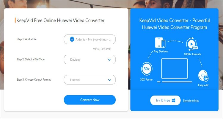 Huawei P20 online Converter - KeepVid Video Converter