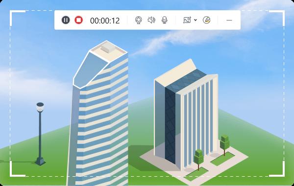 screen record Minecraft skyscraper and share