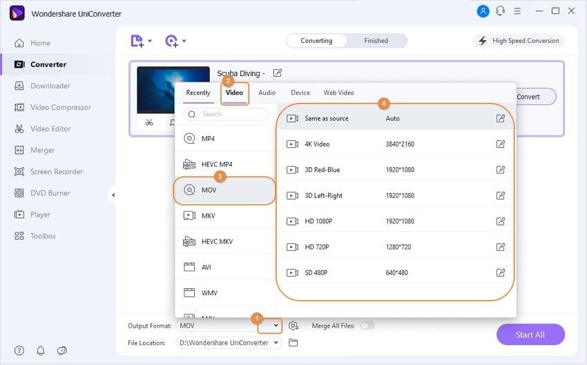 choose target format for videos