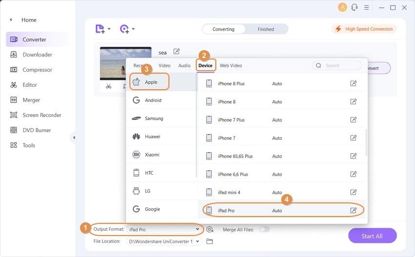 modify the video for ipad