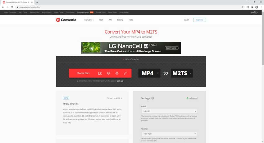 convert MP4 to M2TS online