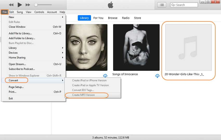 Browse converted MP3 files with iTunes