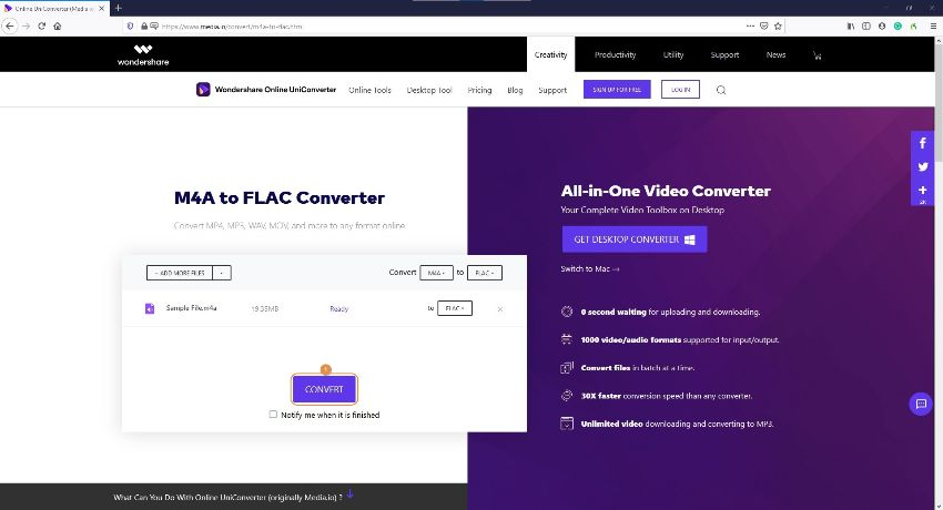 convert M4A to FLAC by Online UniConverter