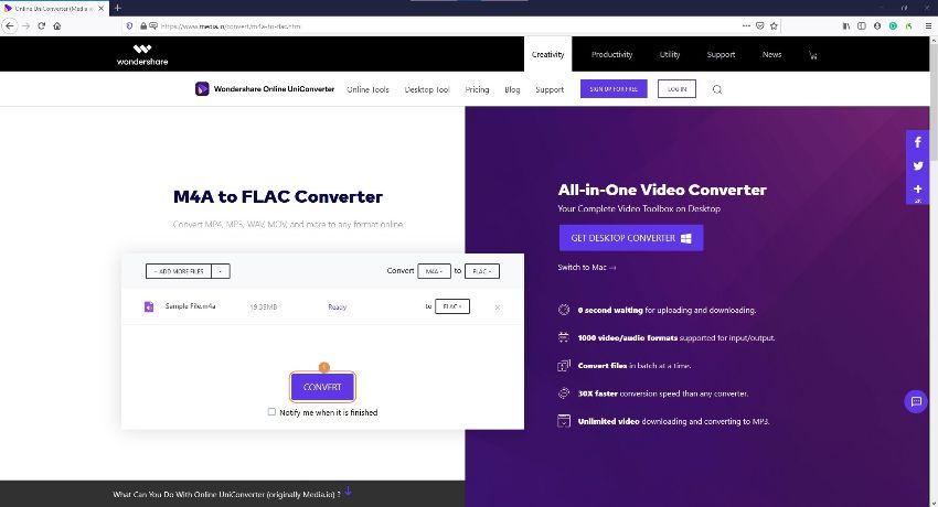 M4A in FLAC konvertieren mit dem Online UniConverter