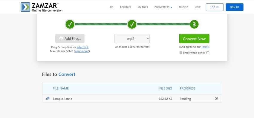 Zamzar M4A to MP3 Converter online