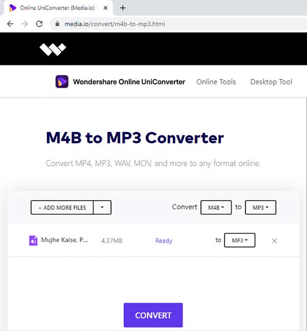 convert M4B to MP3 online