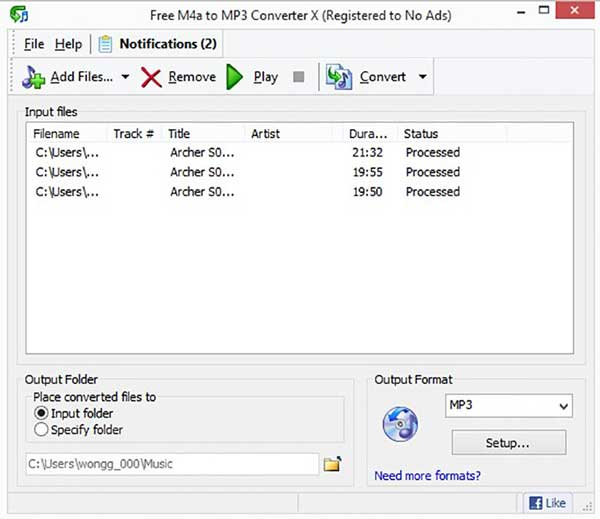 Free M4a to MP3 Converter X