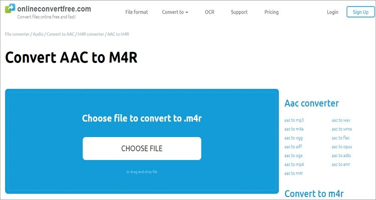 Convert AAC to M4R Online Free - Onlineconvertfree