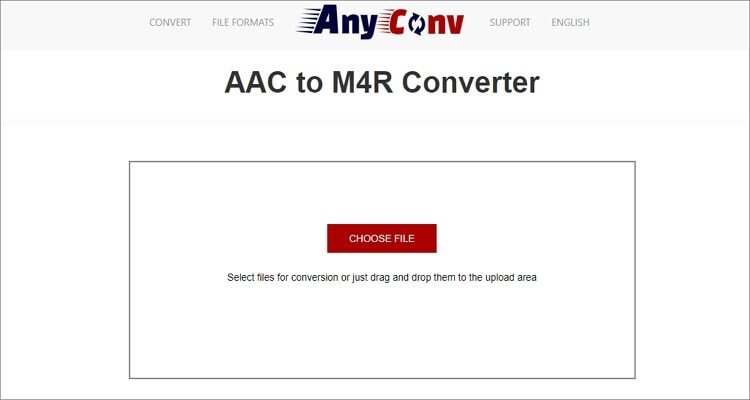 Convert AAC to M4R Online Free - AnyConv