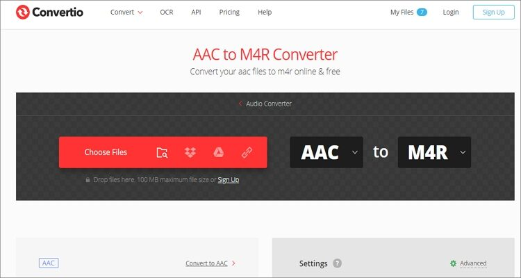 Convert AAC to M4R Online Free - Convertio