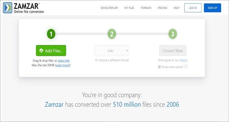 MP3 to M4R Online Converter - Zamzar