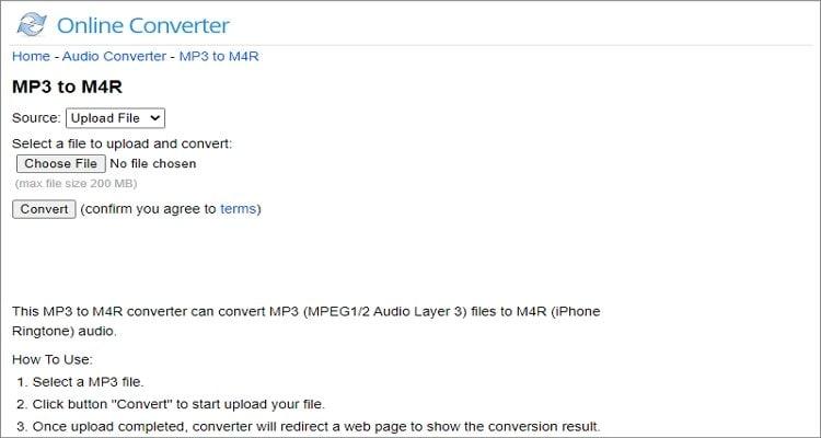 MP3 to M4R Online Converter - Online Converter