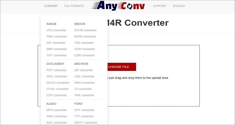 MP4 to M4R Online Converter - AnyConv
