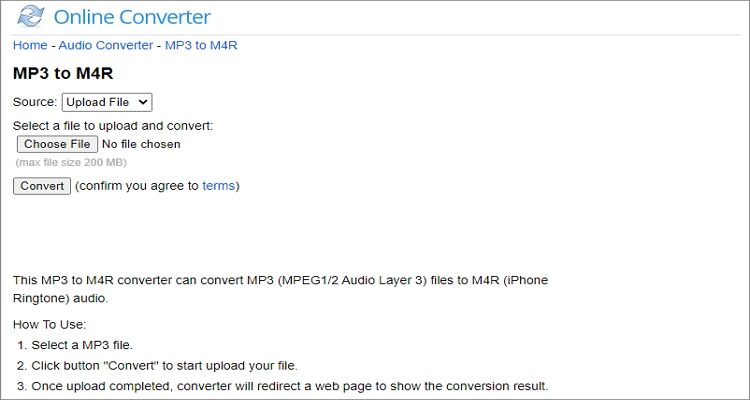 Convert Any Videos and Audios to M4R Online Free - Online Converter