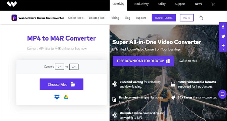 Convert YouTube videos to M4R Online Free - Online UniConverter