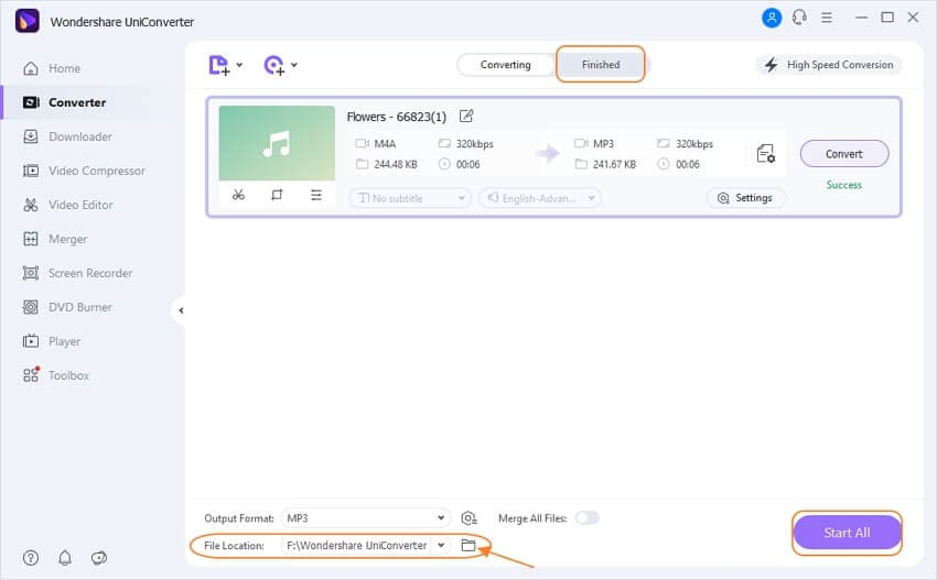 start converting m4a to mp3