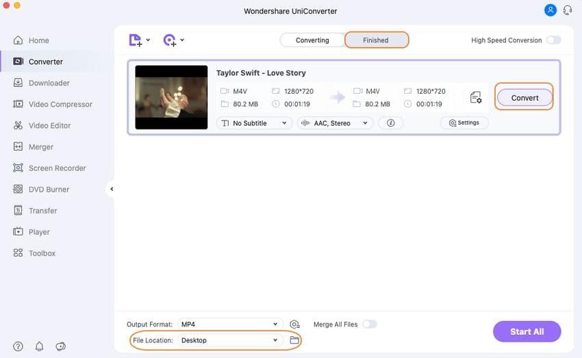 convert and merge edited M4V video