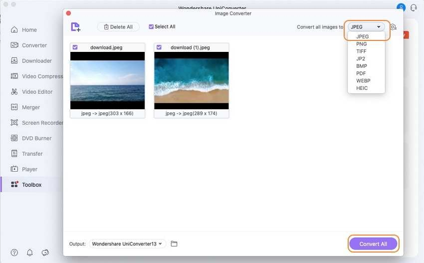 convert image by wondershare image converter
