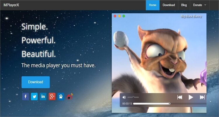 Play MPEG-4 by online tool - MPlayerX