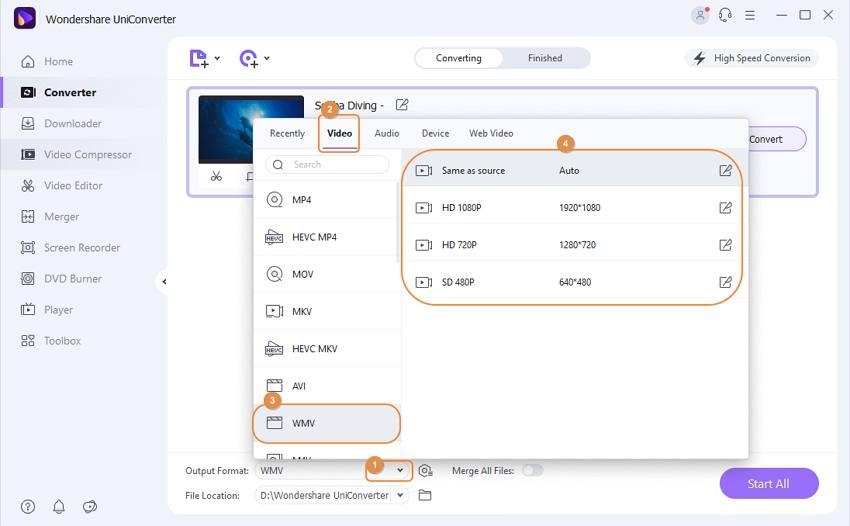 choose output formar for wmv