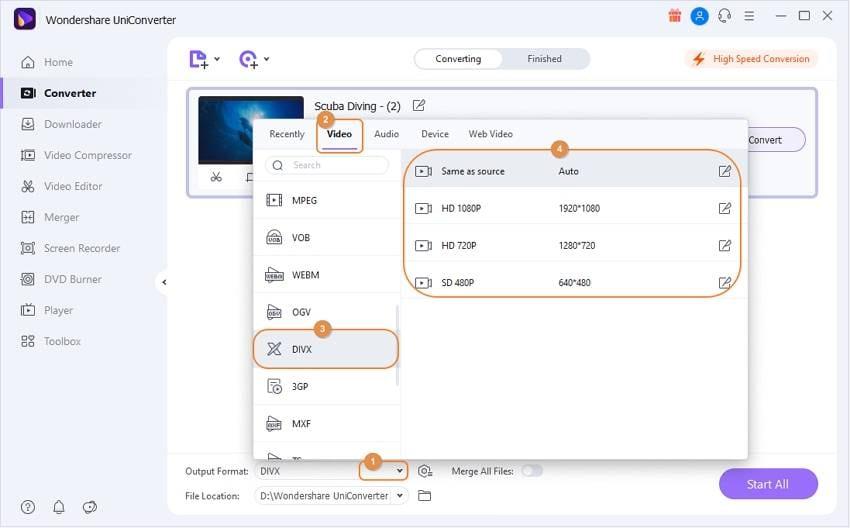 convert mkv to divx - choose format